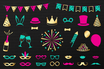 Party icons - set of funny costumes. Carnival, photo booth and birthday. Vector.