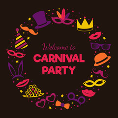 Carnival Party - poster with masks and greetings. Vector.