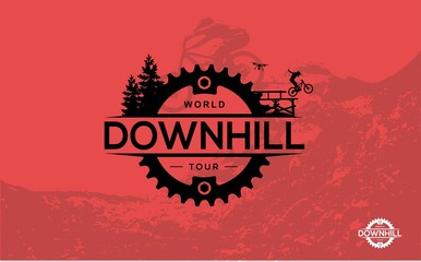 Mountain biking. Downhill, freeride, extreme sport.Vector Ilustration.