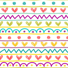 Seamless vector pattern in kids draw style.