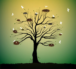 big tree with many nests and flock of white birds flying, return to the nature home idea, spring nesting,