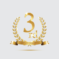 3 anniversary golden symbol. Golden laurel wreaths with ribbons and third anniversary year symbol on light background. Vector anniversary design element.