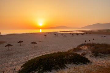 Beautiful Ladscape od beach at sunset at Tarifa, Spain.