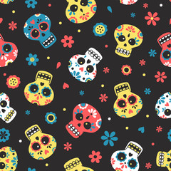 Cute vector seamless pattern with skulls and flowers. Mexican calavera day of the dead.txt