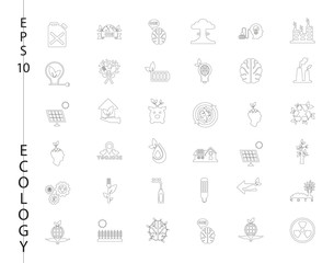 Green, Ecology and environment icon set in vector format. 36 icons in thin line sets