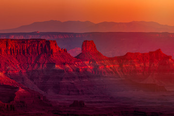 View at sunset of canyons and rock formations in southwest Utah