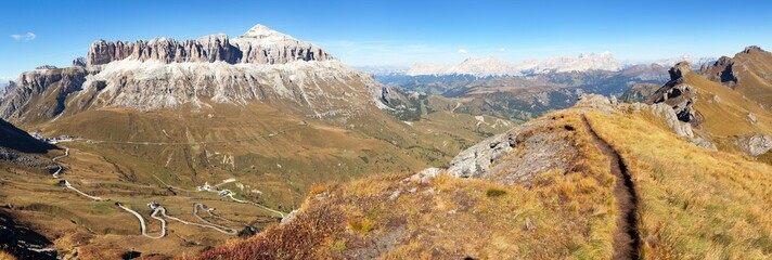 Autumnal view of Sella Gruppe and Piz Boe