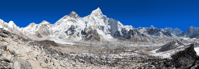 Mount Everest with beautiful blue sky and Khumbu Glacier