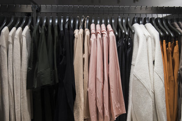 Women clothes on hangers