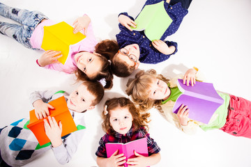The cute children with books