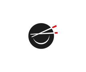 Chinese plate with chopsticks logo template. Asian style plate vector design. Chinese cuisine illustration