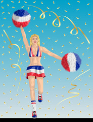 """French Cheerleader of France Fans"" Cheerleader girl, confetti papers and background are in different layers."