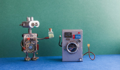 Robot automation laundry room. Silver washing machine, green wall interior, blue floor. Funny toys creative design.