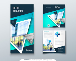 Bifold brochure design. Teal template for bi fold flyer. Layout with modern triangle photo and abstract background. Creative concept folded flyer or brochure.