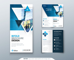 Bifold brochure design. Blue template for bi fold flyer. Layout with modern triangle photo and abstract background. Creative concept folded flyer or brochure.