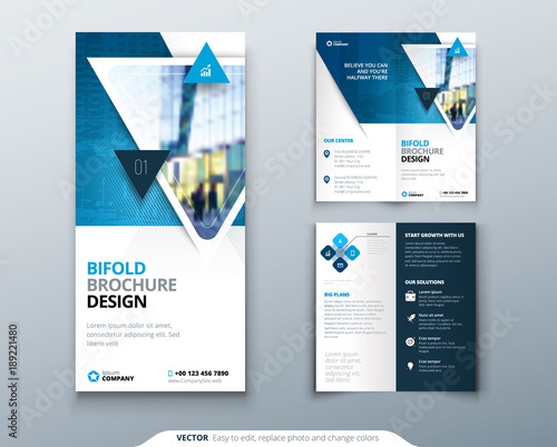 bifold brochure design blue template for bi fold flyer layout with modern triangle photo