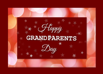 Card with the words Happy Grandmother Day on a red background with stars and with a frame of pink blur lights