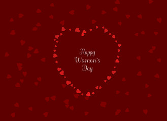 Inscription Happy Women's Day surrounded by hearts arranged in the shape of a heart on a red, elegant background with hearts