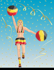 """Belgian Cheerleader of Belgium Fans"" Cheerleader girl, confetti papers and background are in different layers."