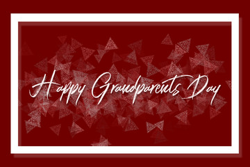 The inscription Happy Grandparents Day surrounded by a white frame on a red background with a geometric pattern