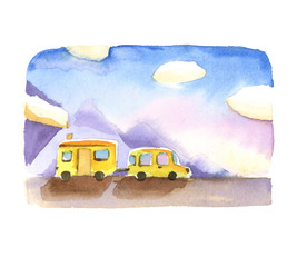 watercolor landscape with mountains, road, yellow car and house on wheels