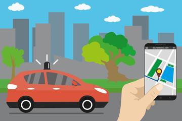 Self driving car,city landmark