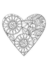 Coloring book style.Valentine's day theme. Heart with flower pattern. Vector white and black drawn for coloring book.