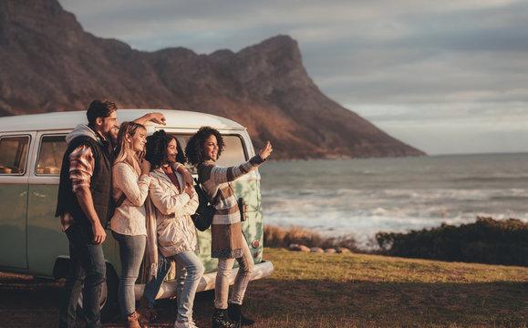 Friends on roadtrip together taking a selfie
