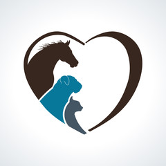 Veterinarian Heart Animal Love. Horse,Dog and Cat Together