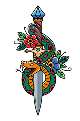 Vector tattoo dagger with snake. Dagger decorated with flowers. Snake wraps around ancient oriental dagger. Old school