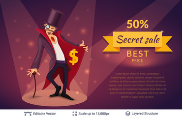 Wall Mural - Sly character offers specials.