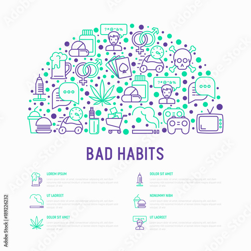bad habits concept in half circle with thin line icons abuse
