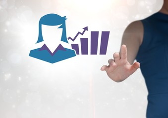 Hand interacting with businesswoman and chart statistic icon
