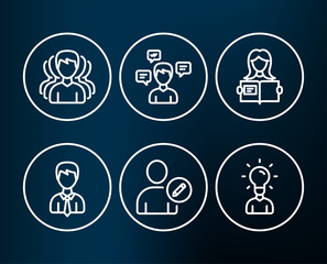 Set of Conversation messages, Businessman and Edit user icons. Group, Woman read and Education signs. Communication, User data, Profile data. Headhunting service, Girl studying, Human idea. Vector