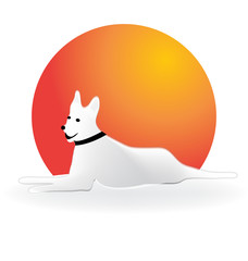 Sitting dog with hot sun vector icon