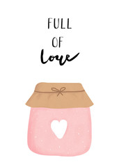 Full of love jar illustration, valentine's day card