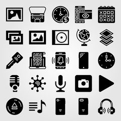Essentials icon set vector. key, earth globe, picture and mic