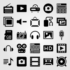 Multimedia icon set vector. frame, cassette, memory and sd card