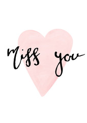Miss you lettering, Valentine's day card
