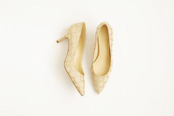 Fashionable medium heeled women's leather wedge shoes isolated on white.