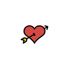 Outline heart with Cupid arrow icon isolated on white background. Line love pictogram. Amour sign. Valentines day symbol for website design, logo, ui. Editable stroke. Vector illustration. Eps10.