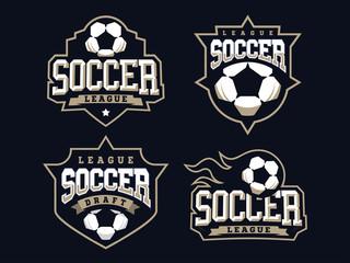 Modern professional soccer logo set for sport team