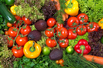 Assorted fresh raw vegetables, food background, healthy eating
