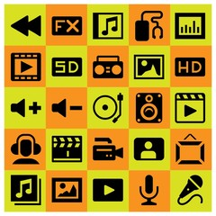 Multimedia icon set vector. movie player, clapperboard, user and rewind