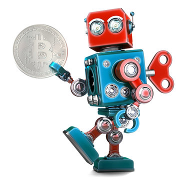 Retro Robot holding bitcoin coin. 3D illustration. Isolated. Contains clipping path