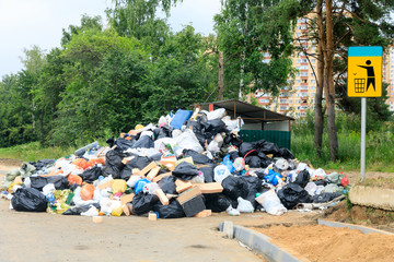 a strike to remove garbage from the city, garbage and old things were thrown out near the container for a long time. Moscow, Russia