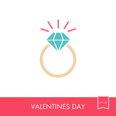 Vector flat wedding ring with a diamond icon
