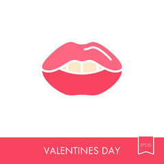 Woman lips icon. Female mouth shape with teeth