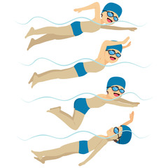 Set with athlete man swimming in different stroke styles training