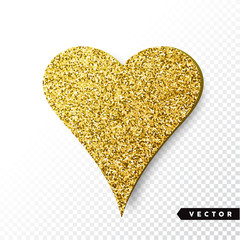 Vector gold sparkles heart. Valentines Day Vector Sparkles and Glitters. Holiday Design.